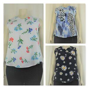 women's printed v-neck sleeveless vest top, sizes (14-26/28)