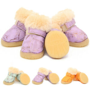 Winter Warm Fleece Lined Shoes Rain Snow Dog Boots Pet Paw Protector Non-Slip