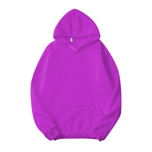 New Men Women Solid Full Pullover Hoodie Classic Hooded Polyester Sweatshirt