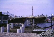 PHOTO  1985 DLR UNDER CONSTRUCTION ISLE OF DOGS THE DOCKLANDS LIGHT RAILWAY WAS