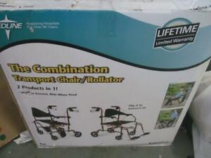 MEDLINE TRANSPORT CHAIR AND ROLLATOR COMBINATION GERIATRIC W/FOOTRESTS