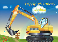 Digger Construction Theme Personalised Edible Image REAL Icing Cake Topper
