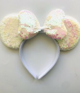 Minnie mouse ears 1 headband White Sequins Bow White Sequin ears Birthday Mickey