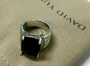 David Yurman classic black onyx Sterling Silver ring size 7