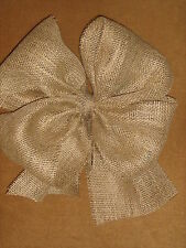 "Burlap Bows 12"" across Made of 6"" wide Ribbon Wedding decor Pew Bow Chair Sash"