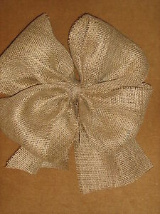 """Burlap Bows 12"""" across Made of 6"""" wide Ribbon Wedding decor Pew Bow Chair Sash"""