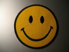 Smiley Face Iron On/ Sew Patch Badge Yellow & Black happy hippy hippie acid rave