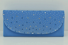 BLUE DIAMANTE SATIN LADIES EVENING CLUTCH BAG PURSE WEDDING PROM PARTY cb33blu
