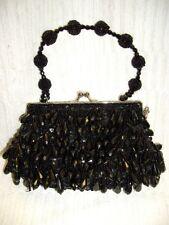 Vintage STEPHANIE Black Beaded Handbag Clutch Purse Evening ~Optional Chain