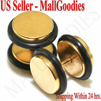 "2095 Fake Cheater Illusion Faux Plugs 16G Surgical Steel 7/16"" 11mm Gold X Large"