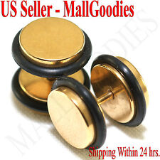 """2095 Fake Cheater Illusion Faux Plugs 16G Surgical Steel 7/16"""" 11mm Gold X Large"""