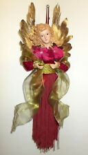 "Christmas Ornament 13"" Hanging Holiday Angel Burgundy Dress Gold Feathers"