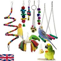 7 PACK BEAKS METAL ROPE SMALL PARROT BUDGIE COCKATIEL CAGE BIRD TOYS NEW UK