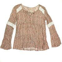 hollister long bell sleeve lace up v neck top floral crochet size xs boho hippie