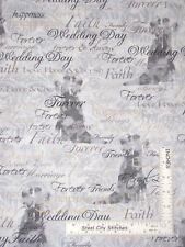 Mr Mrs Wedding Day Bride Groom Words Damask Cotton Fabric Benartex By The Yard