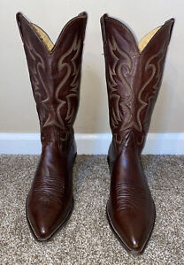VTG MENS Western NOCONA COWBOY BROWN SOFT LEATHER BOOTS SIZE 10 D