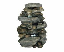 Stone Waterfall Water Fountain Resin Outdoor Led Garden Yard Feature Patio Decor