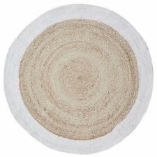 FF HAZEL ROUND RUG Circle Hand Woven Fabric Edge Natural Virgin JUTE 100cm WHITE