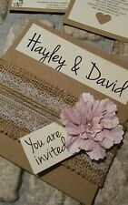 Luxury kraft wallet Wedding Day invite. Flower-lace and hessian. With Rsvp/wish