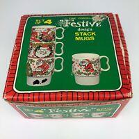 Vintage Set of 4 Fine Porcelain Holiday Festive Design Stack Mugs Christmas