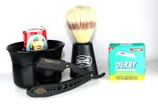 Barber Style Shaving Gift Set 5 Piece Kit Half Blade Cut Throat Razor & Brush