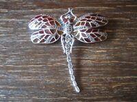 riesige Insekten Brosche Libelle Dragonfly Anhänger 925er Silber bunt emailliert