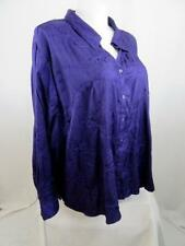 Maggie Barnes Size 5XWP Purple Polyester LS Pointed Collar Button Down Blouse
