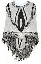 Womens Batwing Poncho w/ Sleeves Diamond Shape Knit Cape Warm Knitwear Sweater