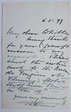 Prince Arthur Autograph Signed Letter Buckingham Palace Queen Victoria Son 1899