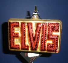Polonaise Glass Ornament: Elvis in Red Letters, AP1205, New in Box