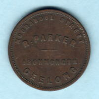 Australia Token.  Parker 1d..  35mm - Large Size ..Geelong Vic..  SCARCE.. Fine+