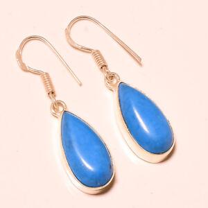 Sleeping Beauty Turquoise Gemstone 925 Sterling Silver Earring Jewelry 1.7 _312