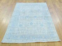 "3'2""x5' HandKnotted White Wash Khotan And Samarkand Pure Wool Rug G32944"
