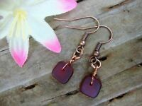Red Tumbled SEA GLASS Square Copper Dangle Earrings USA HANDMADE