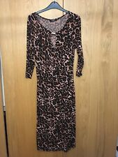 Bnwt George Imprimé Léopard Stretch Faux Wrap Dress Taille 10