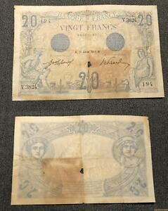 20 Francs Bleu Type 1905 - 13/1/1913 V.3824 B TB