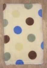 Beansprout Yellow Plush Baby Blanket  Polka Dot Blue Green Brown Fleece Lovey