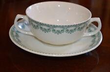 Royal Boch Fine China Carlotta Green Cream Soup Bowl With Under Plate RARE