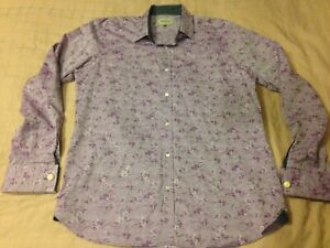 Ted Baker Archive Dress Shirt L 16.5 French Cuff Purple Floral Egyptian Cotton