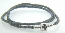 "Pandora Grey Braided Triple Leather 22.5""  Bracelet 590705CGY T2  NEW"