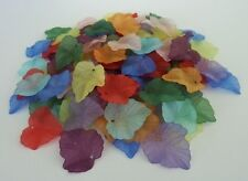 80 pce Frosted Acrylic Autumn Leaf Beads Pendants 24mm x 22mm