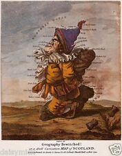 Caricature Map of Scotland Geography Bewitched 1794 Reprint 10x8 inch