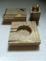 Tobacco Set in Travertine Ashtray Lighter and Box by Cerri Nestore, Italy, 1970s