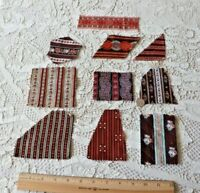 10 Antique c1860 French Cotton Madder Provencal Fabric Samples