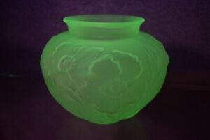 VTG Tiffin Poppy Satin Uranium Glass Vase