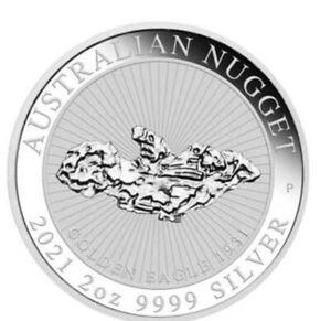 2021 Australian Nugget Golden Eagle 2oz Silver Coin - 15k mintage, pre order