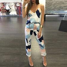 2pcs Womens Casual Geometric Print Blouse Cami Tops Long Pants Clothes Set 2017 L Blue