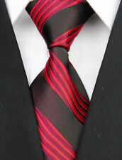 Dark Brown Hand Made 100% Pure Silk Neck Tie with Red Wavy Stripe Pattern