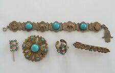 Joli Lot Bijoux Anciens Bague Broches Bracelet en Métal et VERRE Bleu Turquoise