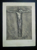 Rare gravure années 50 crucifixion signée numérotée Jesus Christ